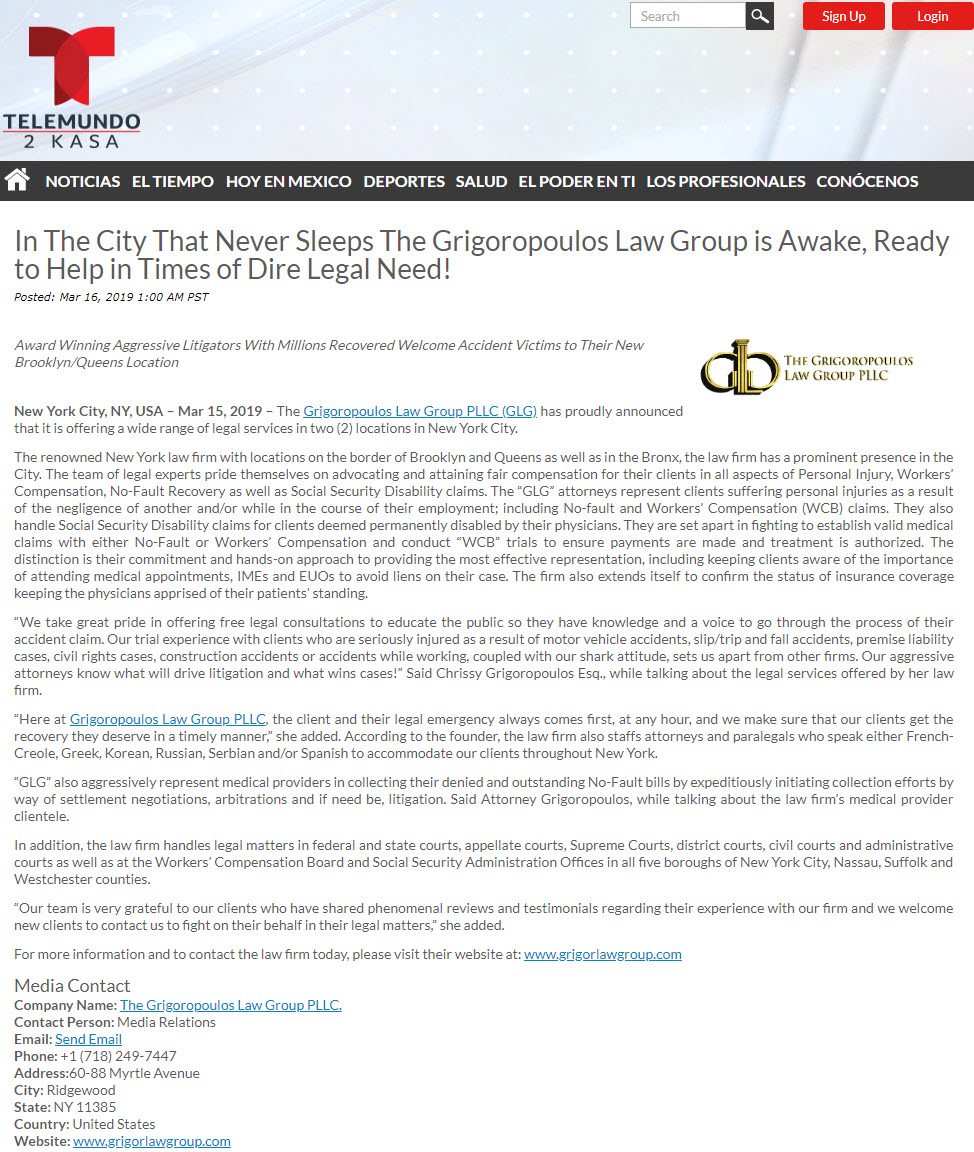 Ridgewood Law Firm, The Grigoropoulos Law Group PLLC | Telemundo Article